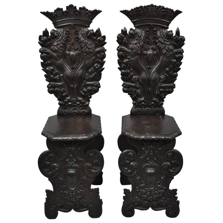 Pair of 18th Century Italian Renaissance Lion Carved Walnut Sgabello Hall Chairs For Sale