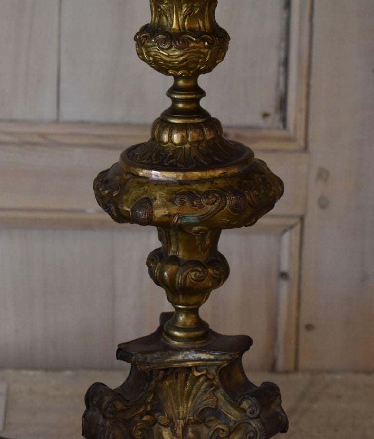 Pair of 18th Century Italian Repousse Wood Candlestick Lamps For Sale 7