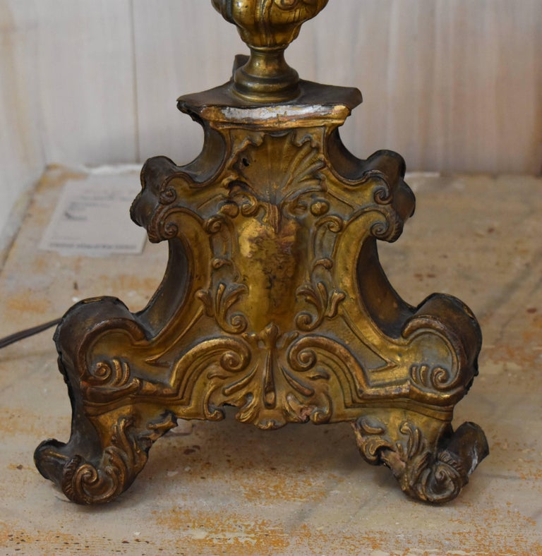 Pair of 18th Century Italian Repousse Wood Candlestick Lamps In Good Condition For Sale In Encinitas, CA