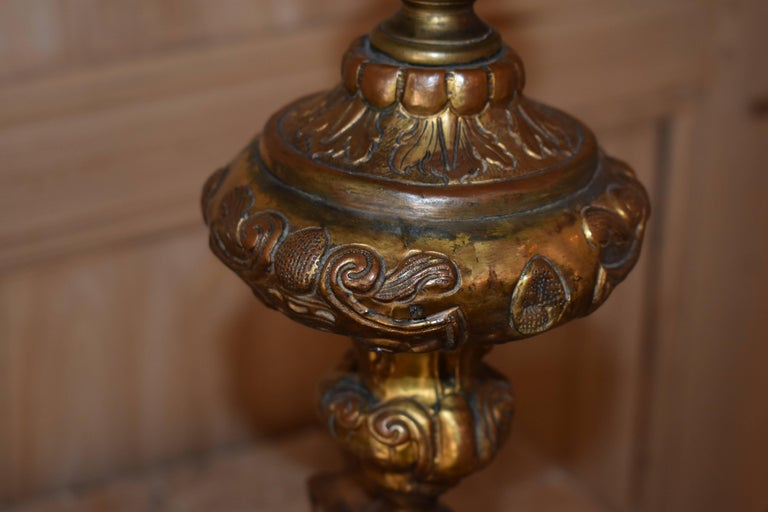Pair of 18th Century Italian Repousse Wood Candlestick Lamps For Sale 3