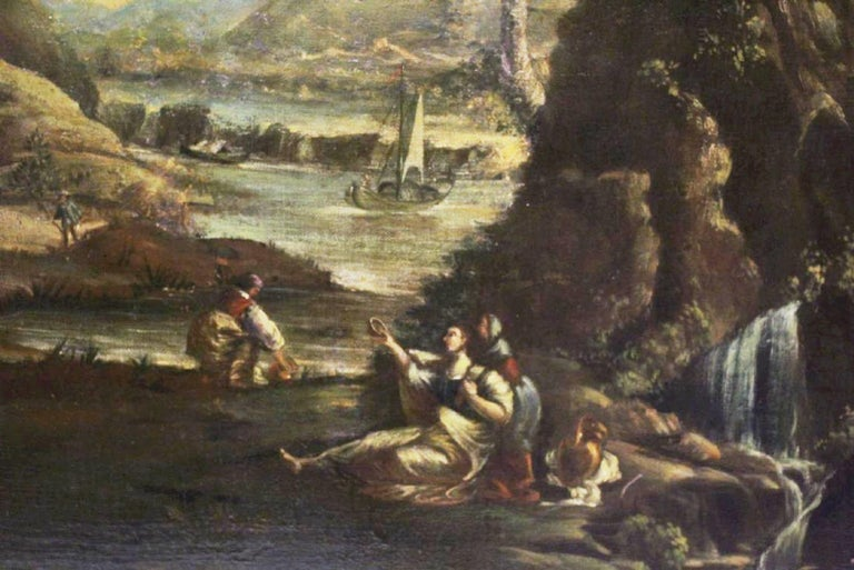Pair of 18th Century Italian School Oil on Canvas Paintings For Sale 5