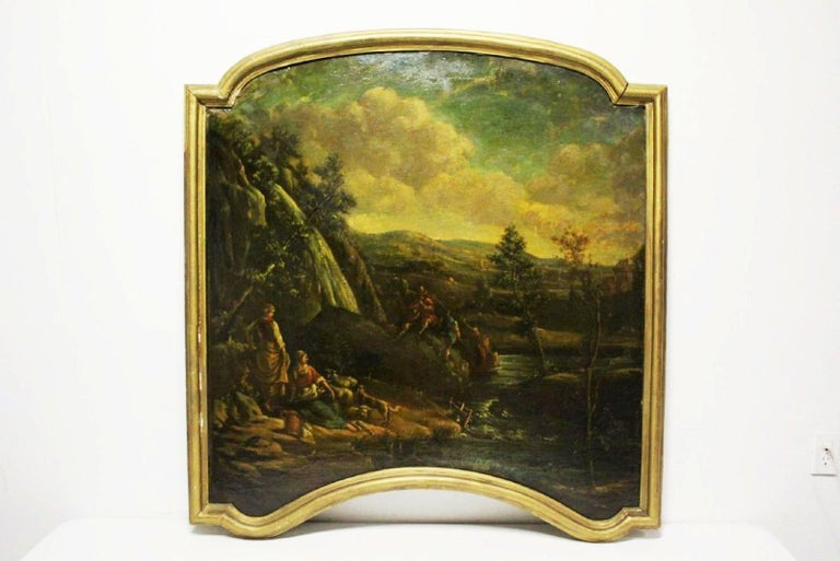Magnificent opposing pair of 18th century Italian school oil on canvas paintings mounted on boards.   Both paintings depict a beautiful landscape with flowing streams, waterfalls and mountains. The clouds are robust leaving the sky partially