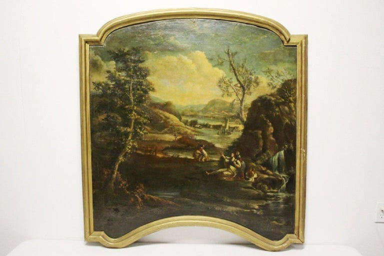 Hand-Painted Pair of 18th Century Italian School Oil on Canvas Paintings For Sale