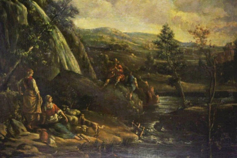 Pair of 18th Century Italian School Oil on Canvas Paintings In Good Condition For Sale In Cypress, CA