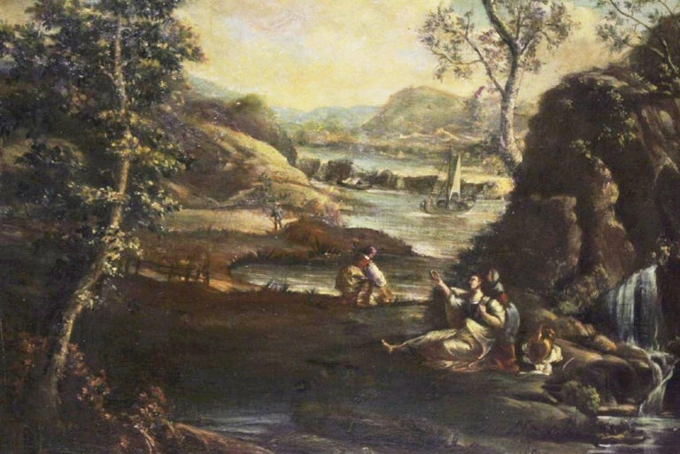 Pair of 18th Century Italian School Oil on Canvas Paintings For Sale 3