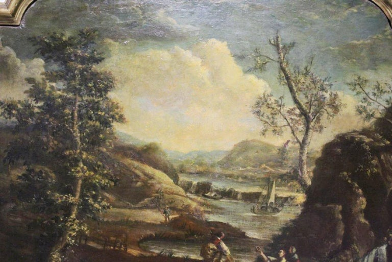 Pair of 18th Century Italian School Oil on Canvas Paintings For Sale 4