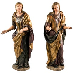 Pair of 18th Century Italian Sculptures, Figures, Carved Painted Wood Venice