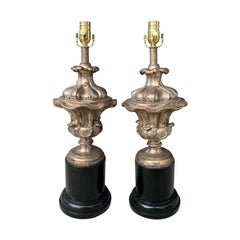 Pair of 18th Century Italian Silver Gilt Urns as Lamps on Old Black Bases