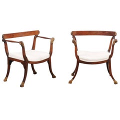 Pair of 18th Century Italian Upholstered Seat Walnut Chairs with Lion Details