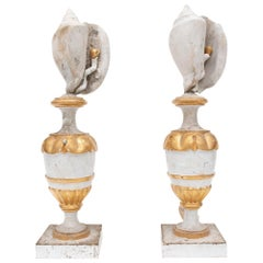 Pair of 18th Century Italian Vases Decorated with Shells and Baroque Pearls