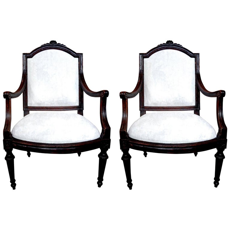 Pair of 18th Century Italian Walnut Chairs For Sale
