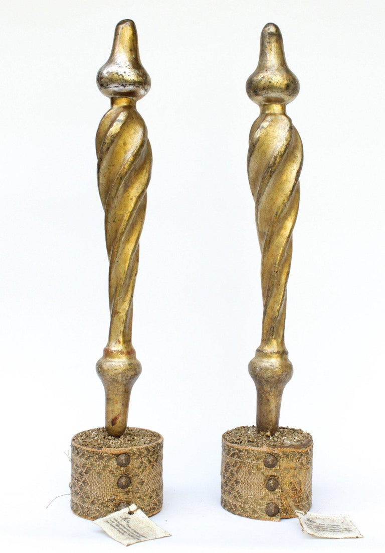 Pair of 18th Century Italian Wood Tassels on a Gold Antique Church Textile Base In Good Condition For Sale In Dublin, Dalkey