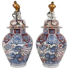 Pair of 18th Century Japanese Arita Imari vases