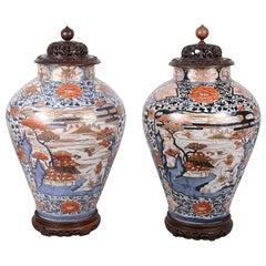 Pair of 18th Century Japanese Imari Lidded Vases