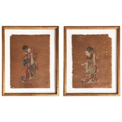 Pair of 18th Century Japanese Watercolor on Rice Paper