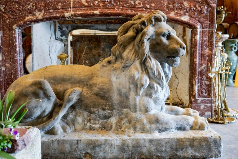Carved Pair of 18th Century Limestone Lions For Sale