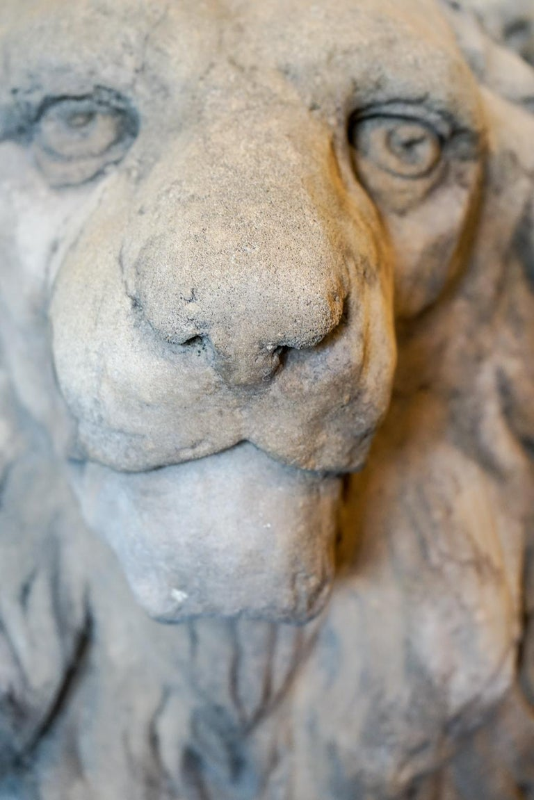 18th Century and Earlier Pair of 18th Century Limestone Lions For Sale