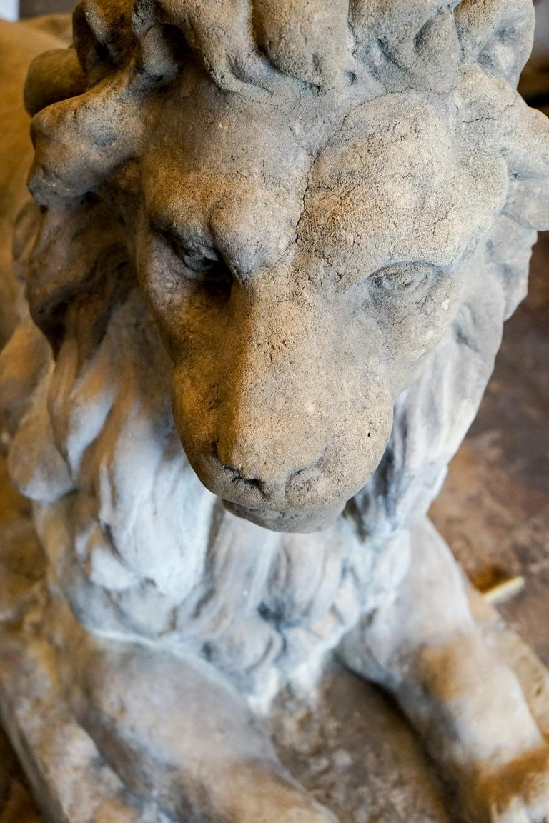 Pair of 18th Century Limestone Lions For Sale 1