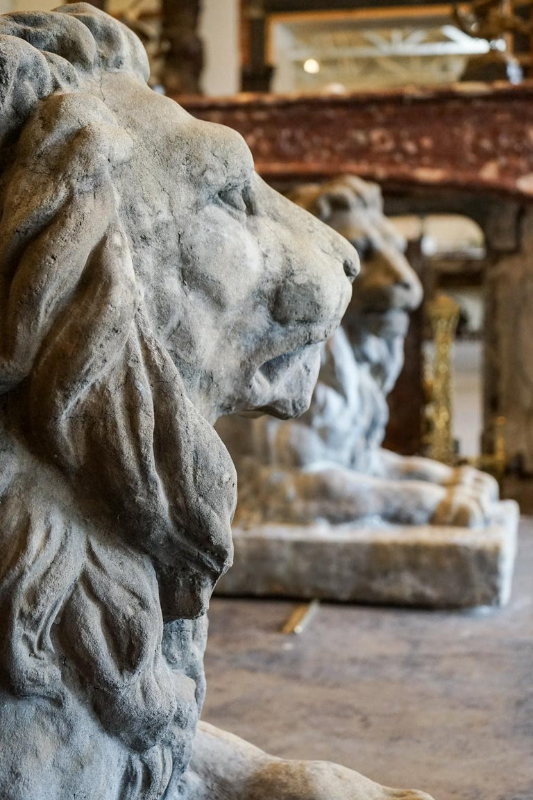 Pair of 18th Century Limestone Lions For Sale 2