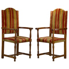 Pair of 18th Century Louis XIII Antique Armchairs