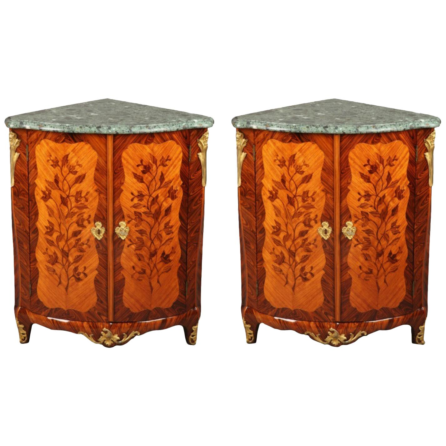 18th Century Corner Cabinets with Flower Marquetry