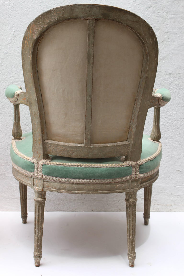 Pair of 18th Century Louis XVI Fauteuils Attributed to Georges Jacob For Sale 7