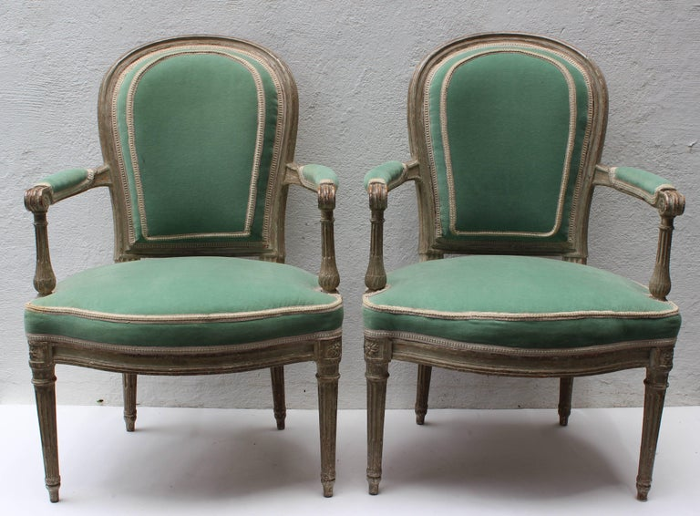 French Pair of 18th Century Louis XVI Fauteuils Attributed to Georges Jacob For Sale