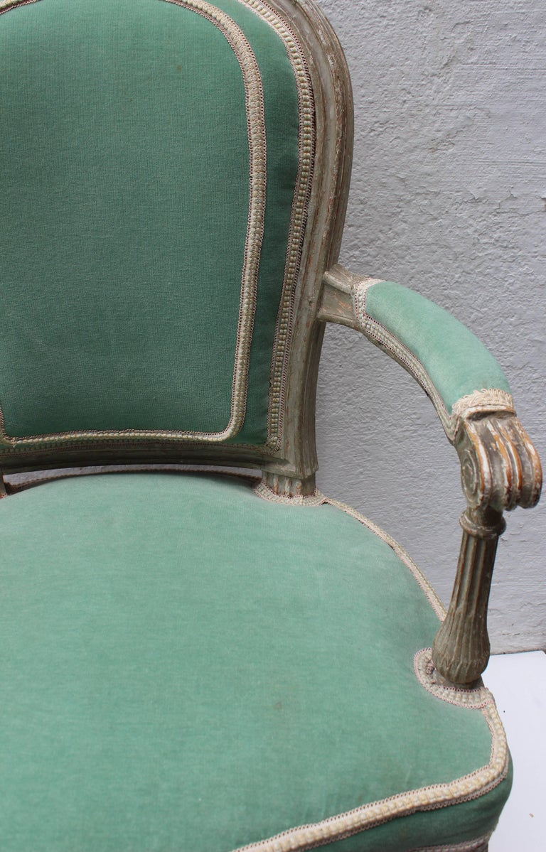 Pair of 18th Century Louis XVI Fauteuils Attributed to Georges Jacob For Sale 1