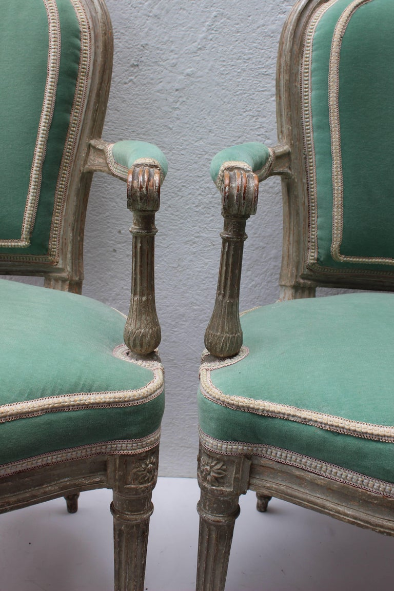 Pair of 18th Century Louis XVI Fauteuils Attributed to Georges Jacob For Sale 2