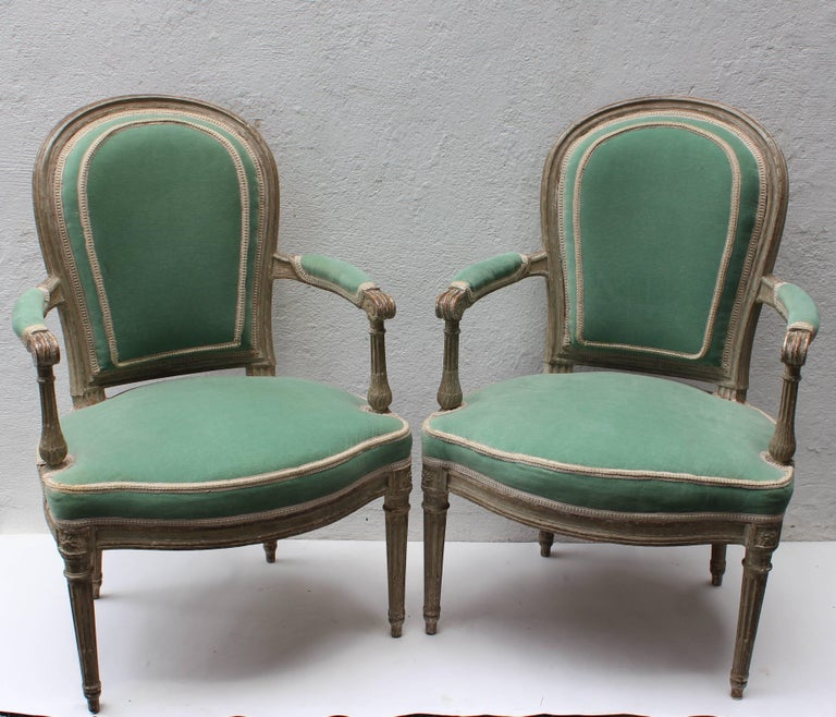 Pair of 18th Century Louis XVI Fauteuils Attributed to Georges Jacob For Sale 4