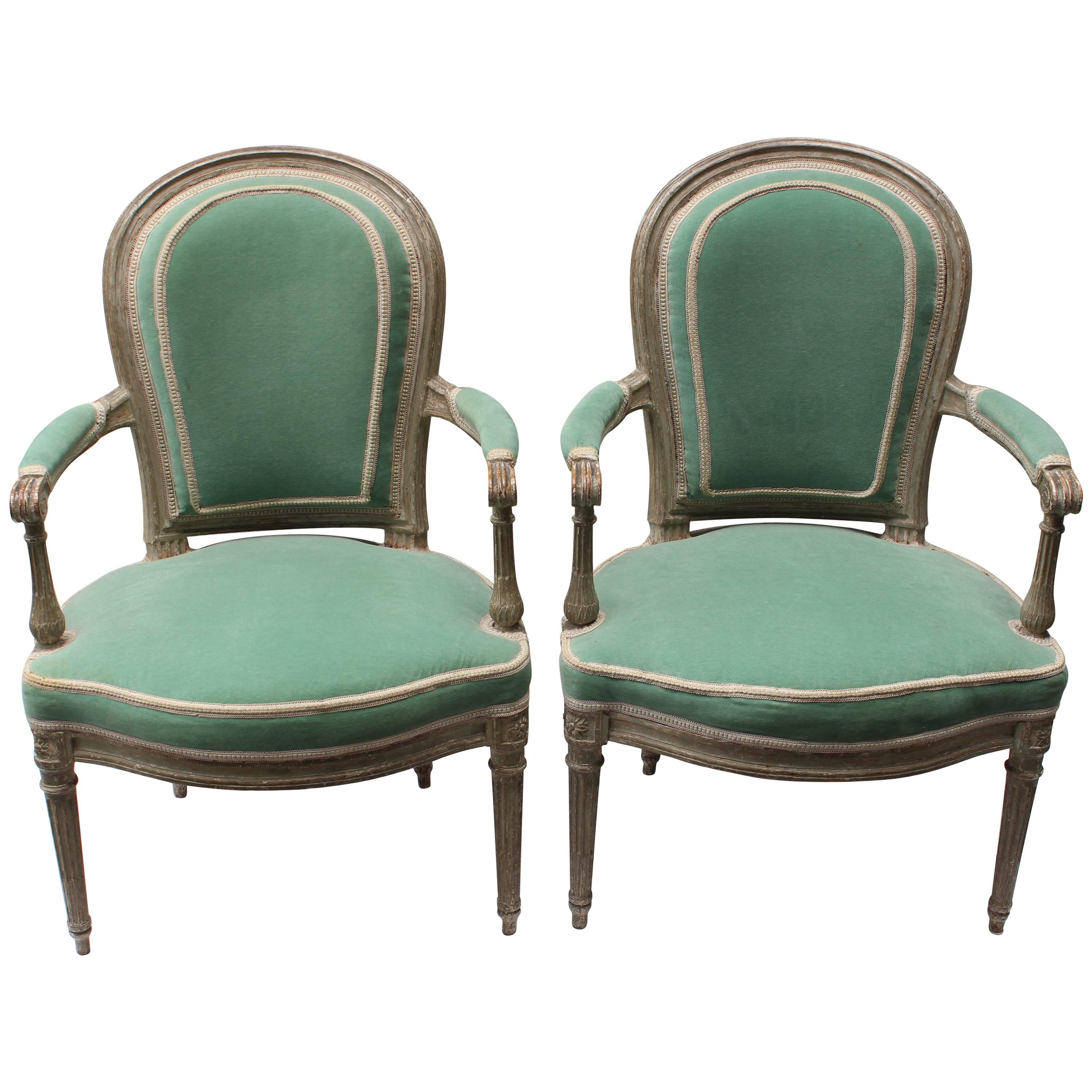 Pair of 18th Century Louis XVI Fauteuils Attributed to Georges Jacob
