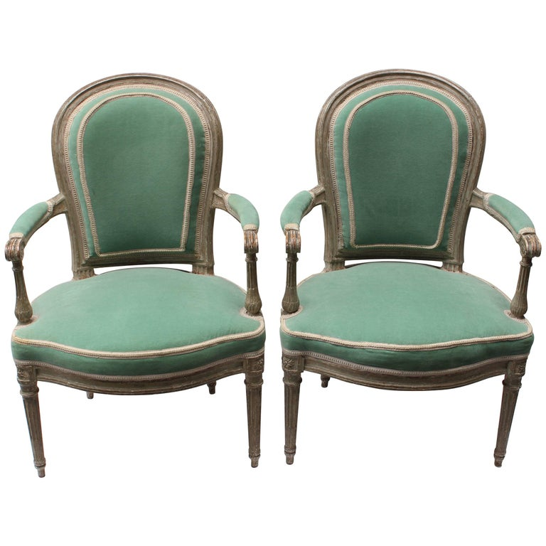 Pair of 18th Century Louis XVI Fauteuils Attributed to Georges Jacob For Sale
