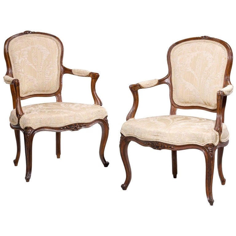 Pair of 18th Century Louis XV Period Fauteuils For Sale