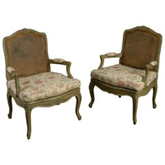 Pair of 18th Century Louis XV Period Painted Rococo Armchairs