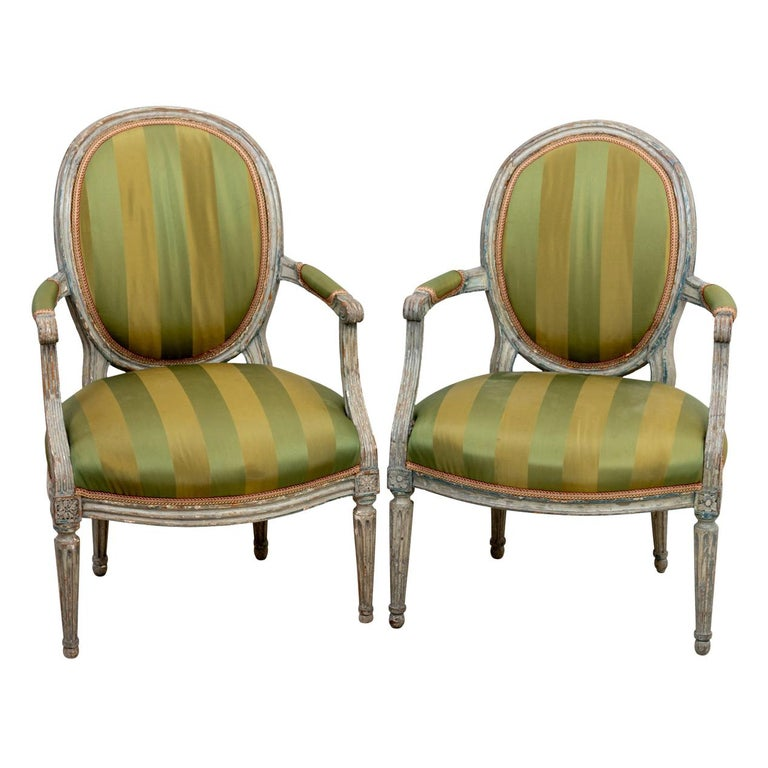 Pair of 18th Century Louis XV Style Armchairs For Sale