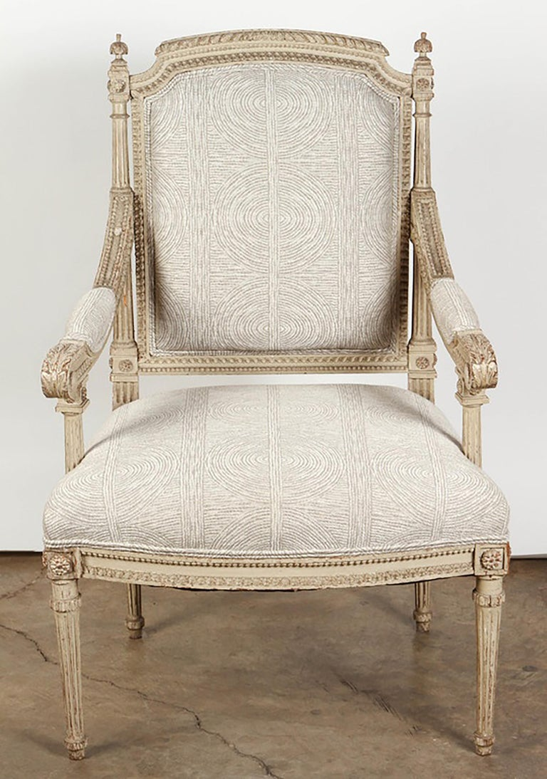 Pair of 18th Century Louis XVI Carved and Painted Armchairs In Good Condition For Sale In Pasadena, CA