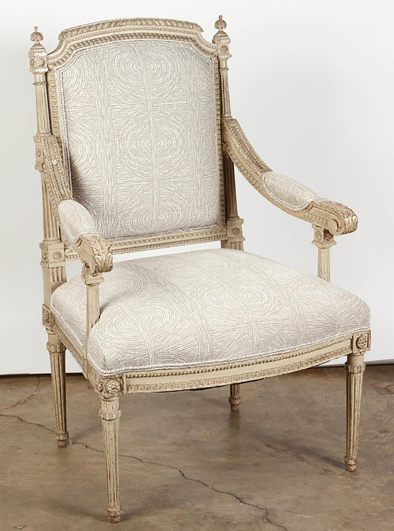 Wood Pair of 18th Century Louis XVI Carved and Painted Armchairs For Sale