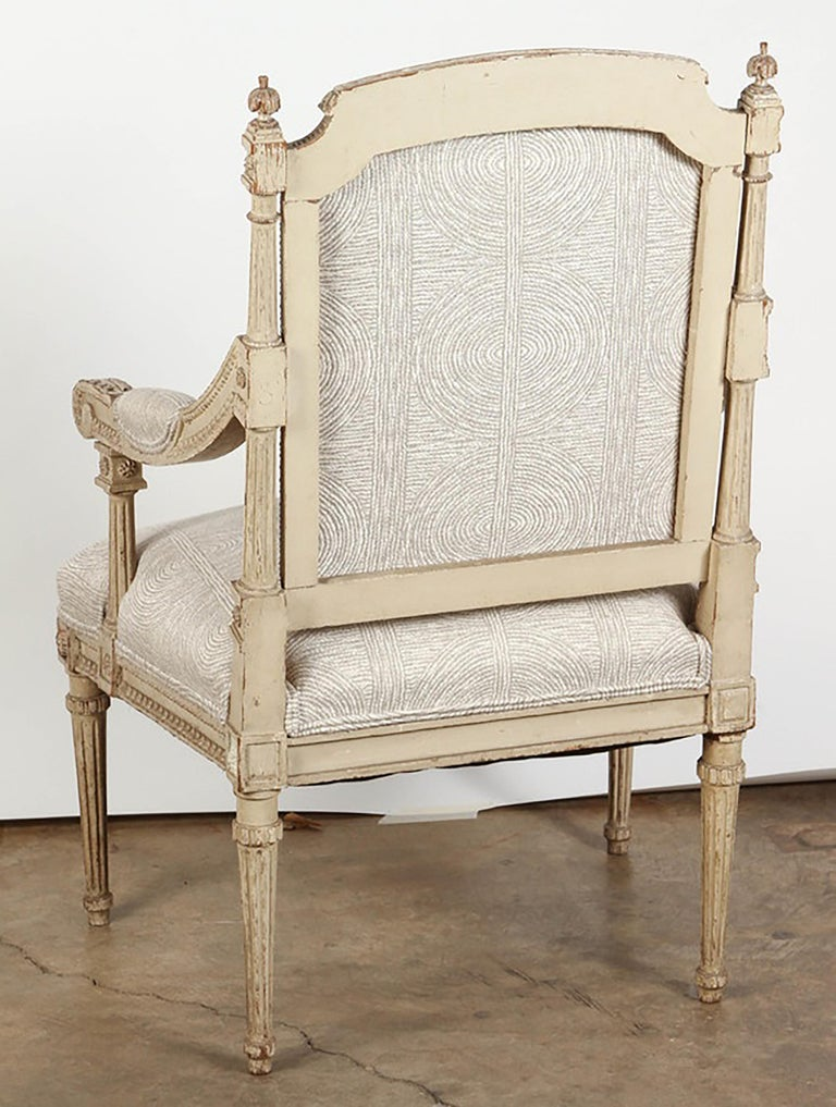 Pair of 18th Century Louis XVI Carved and Painted Armchairs For Sale 1