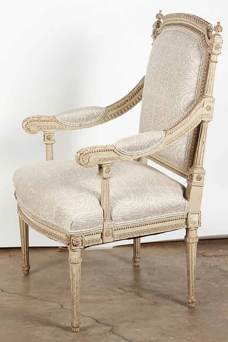 Pair of 18th Century Louis XVI Carved and Painted Armchairs For Sale 2