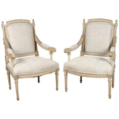 Pair of 18th Century Louis XVI Carved and Painted Armchairs