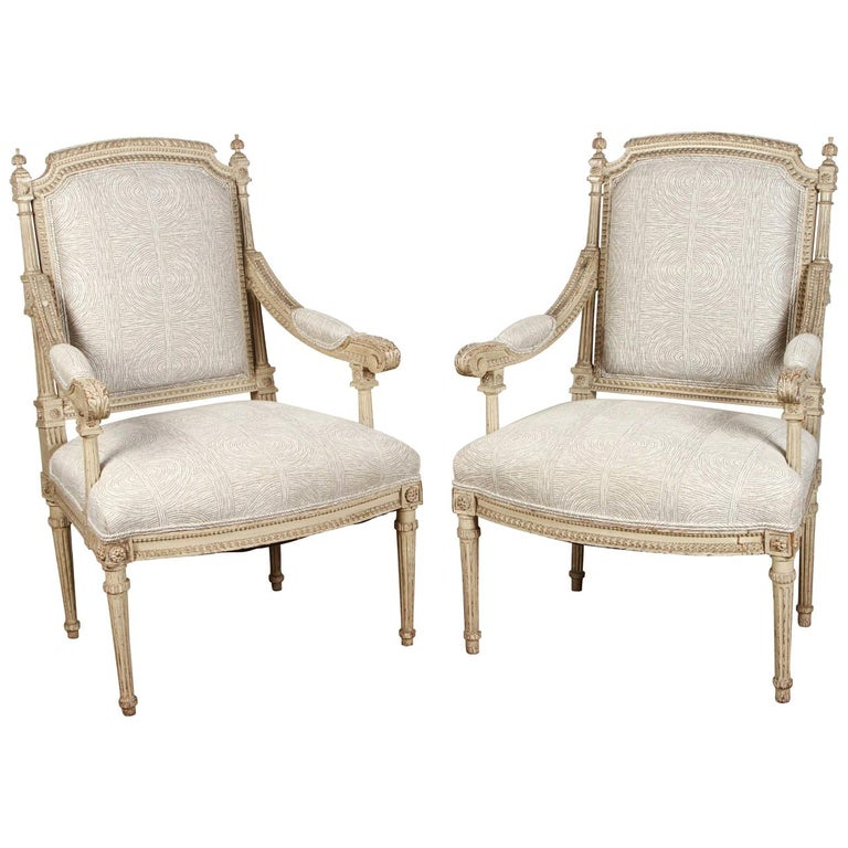 Pair of 18th Century Louis XVI Carved and Painted Armchairs For Sale
