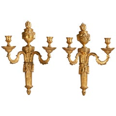 Pair of 18th Century Louis XVI Gilt Bronze Two-Branch Wall Lights Scones