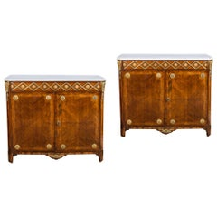 Pair of 18th Century Louis XVI Ormolu Mounted Parquetry Cabinets