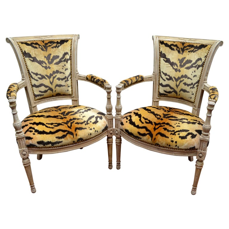 Pair of 18th Century Louis XVI Painted Armchairs For Sale