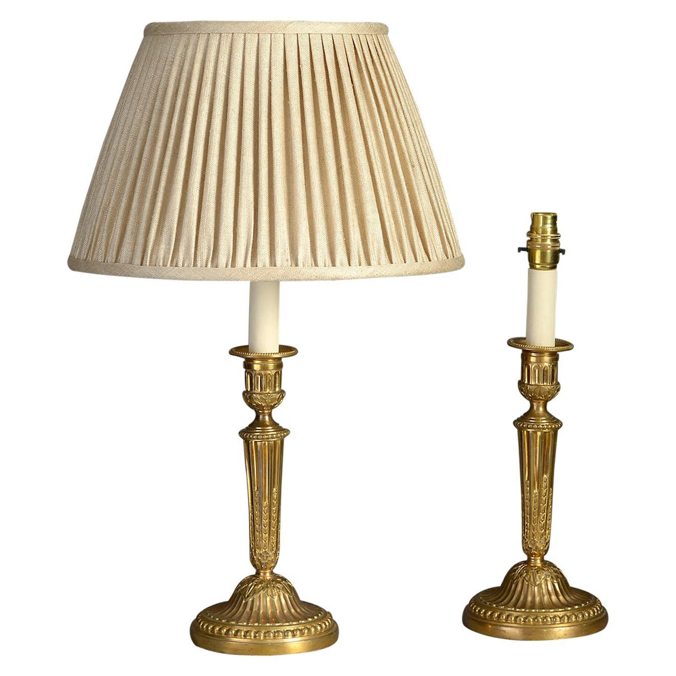 Pair of 18th Century Louis XVI Period Ormolu Candlestick Lamps