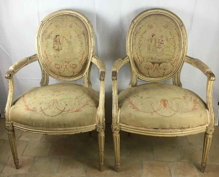 Pair of 18th Century Louis XVI Style Oval Back Armchairs or Fauteuils For Sale 7