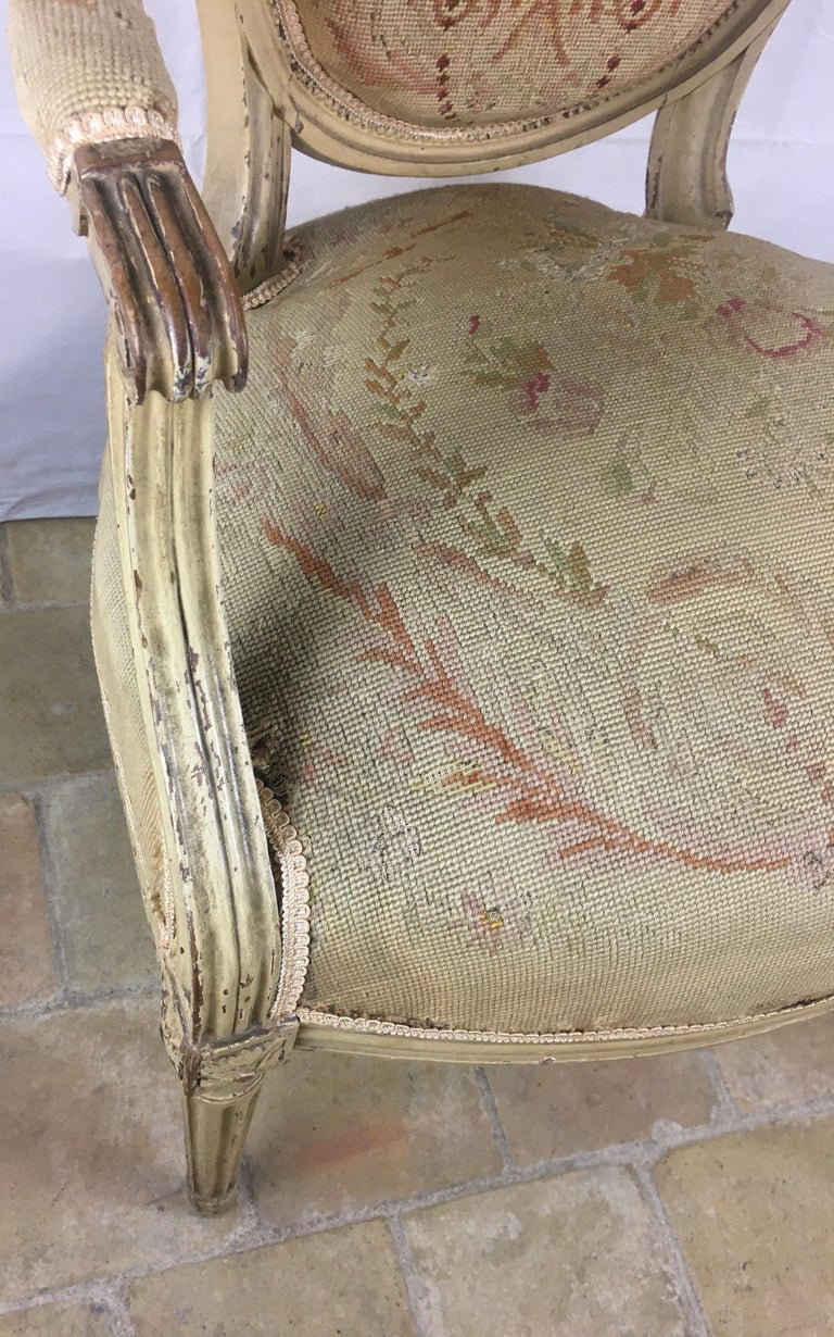 Pair of 18th Century Louis XVI Style Oval Back Armchairs or Fauteuils For Sale 9