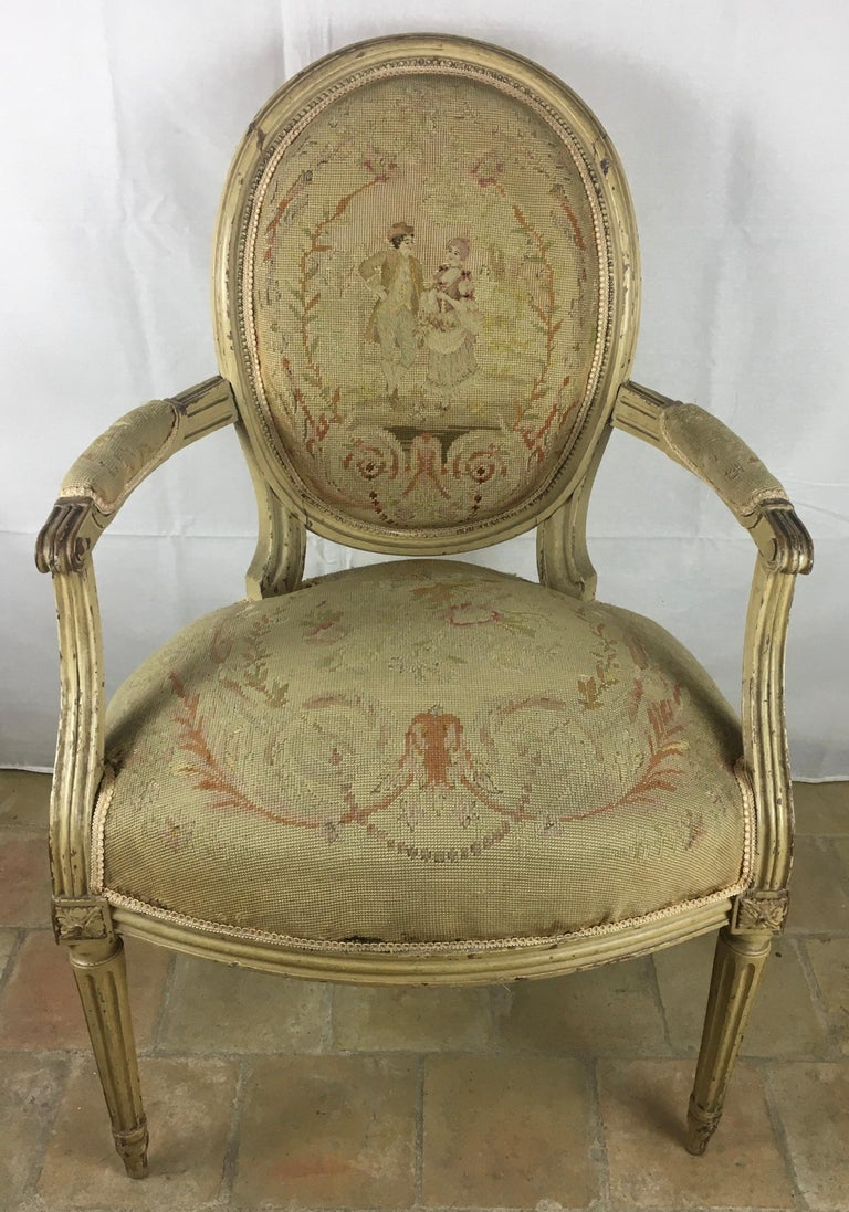 French Pair of 18th Century Louis XVI Style Oval Back Armchairs or Fauteuils For Sale