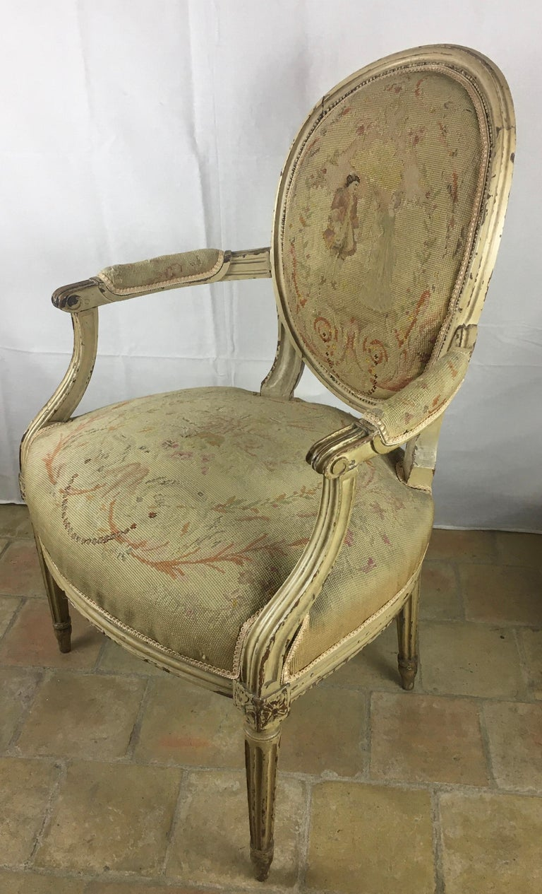 Hand-Crafted Pair of 18th Century Louis XVI Style Oval Back Armchairs or Fauteuils For Sale