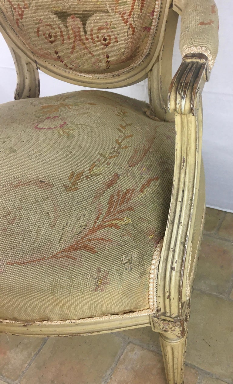Pair of 18th Century Louis XVI Style Oval Back Armchairs or Fauteuils In Good Condition For Sale In Arles, FR